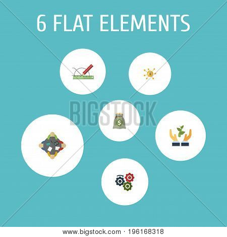Flat Icons Gear, Financing, Discussion And Other Vector Elements