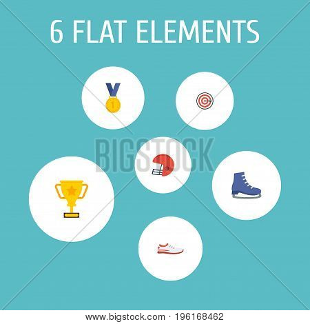 Flat Icons Shoes, Trophy, Ice Boot And Other Vector Elements