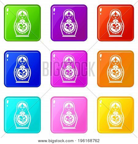 Matryoshka icons of 9 color set isolated vector illustration