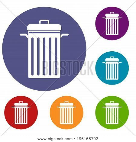 Metal trash can icons set in flat circle red, blue and green color for web