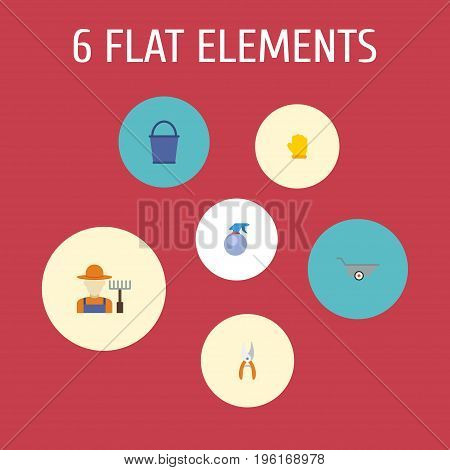 Flat Icons Bucket, Latex, Pruner And Other Vector Elements