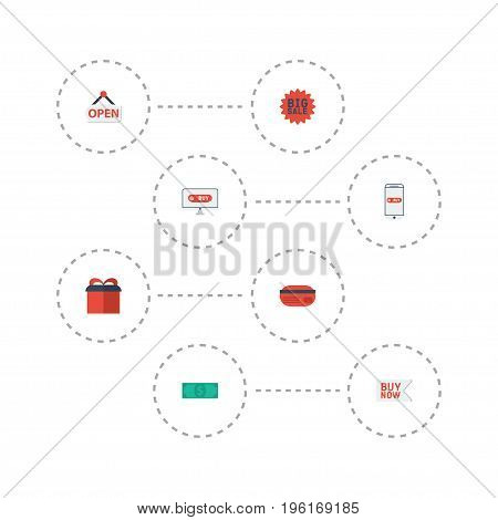 Flat Icons Sign, Payment, Buy Now And Other Vector Elements