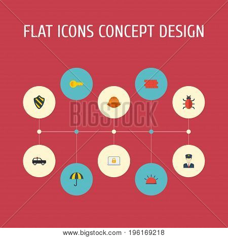 Flat Icons Virus, Policeman, Brick Wall And Other Vector Elements