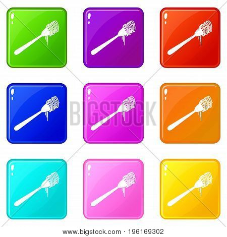 Spaghetti on a fork icons of 9 color set isolated vector illustration