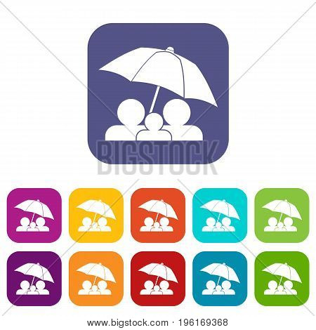 Family under umbrella icons set vector illustration in flat style in colors red, blue, green, and other