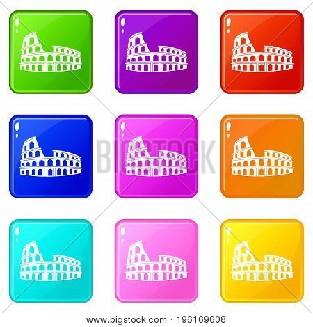 Roman Colosseum icons of 9 color set isolated vector illustration