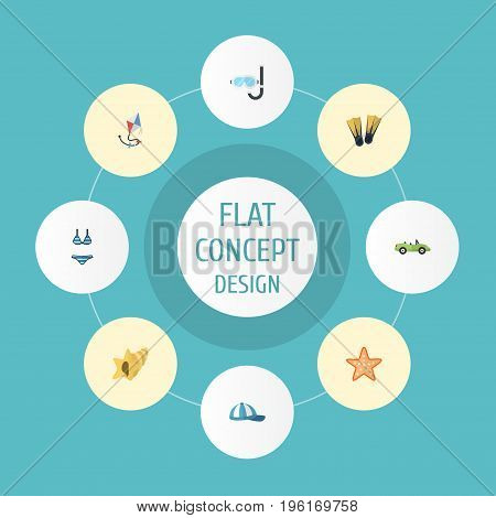 Flat Icons Swimming, Aqualung, Hat And Other Vector Elements
