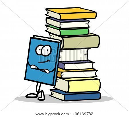 Funny cartoon figure of book leaning on stack of books