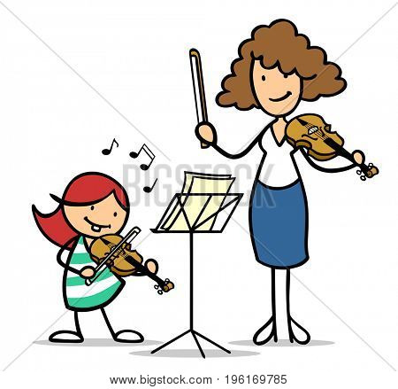 Cartoon of child in music school lessons plays the violin