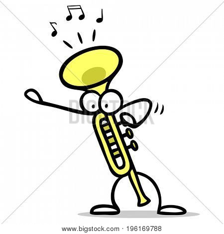 Cartoon of trumpet making music for music school or music lessons