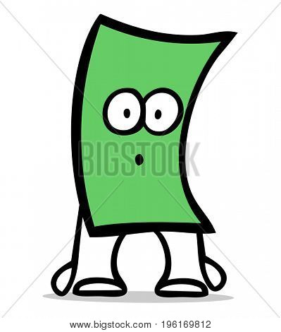 Cartoon of money bill figure character with a sad or sorprised face