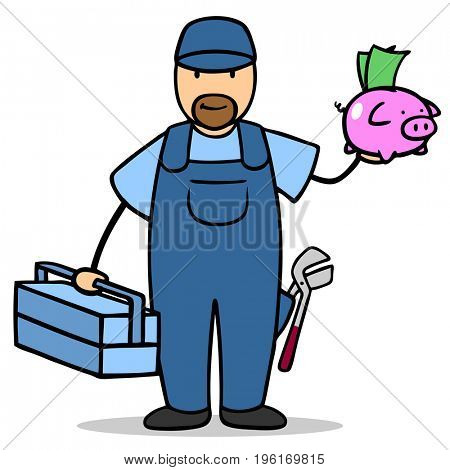 Illustrationof man as installer or plumber holds piggy bank with money as finance or save concept