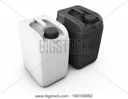 White and black jerrycan isolated on white background 3d render