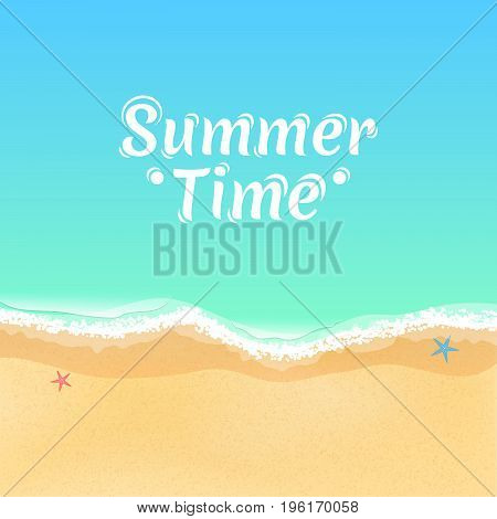 Top view of a cartoon sea beach. Summer time white text on the water. Starfish on the sand. Sea tide sea waves. Vector illustration