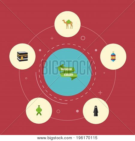 Flat Icons Ramadan Kareem, Malay, Mecca And Other Vector Elements