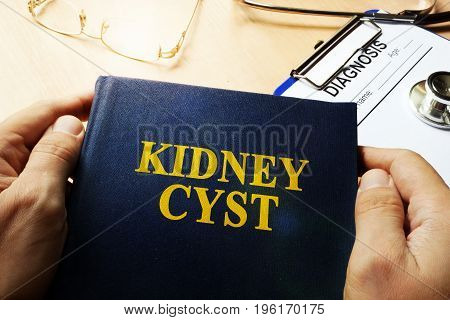 Book about Kidney Cyst and diagnosis form.