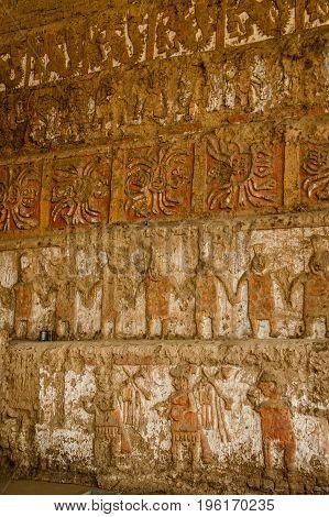 Famous ancient Temple of the Sun and Moon in Trujillo - Huaca del sol y luna, Peru