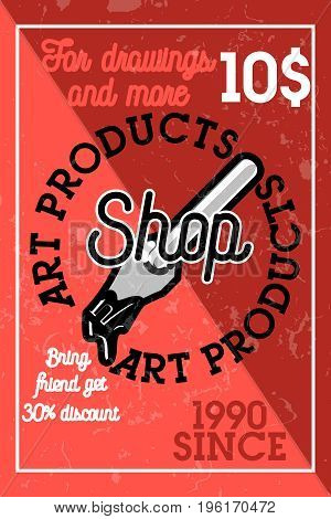 Color vintage art products shop banner. Designer elements of graphic design development.