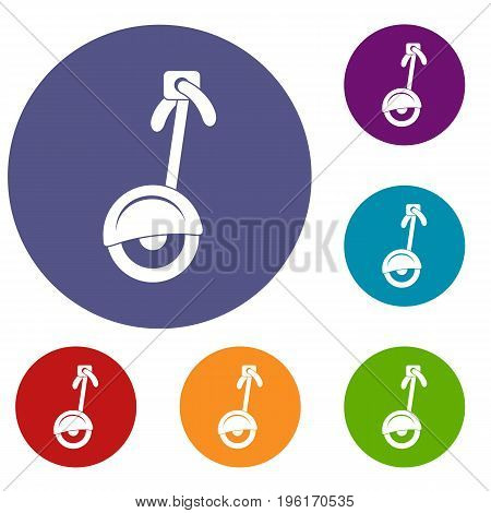 Unicycle icons set in flat circle red, blue and green color for web