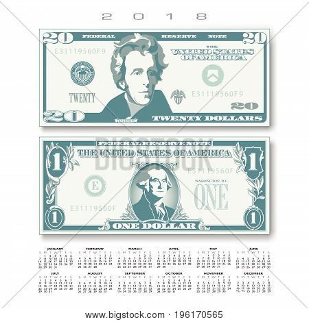 2018 Calendar with two US bills greatly simplified and stylized