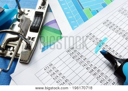Accounting concept. Financial statements in a folder.