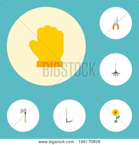 Flat Icons Axe, Flowerpot, Latex And Other Vector Elements