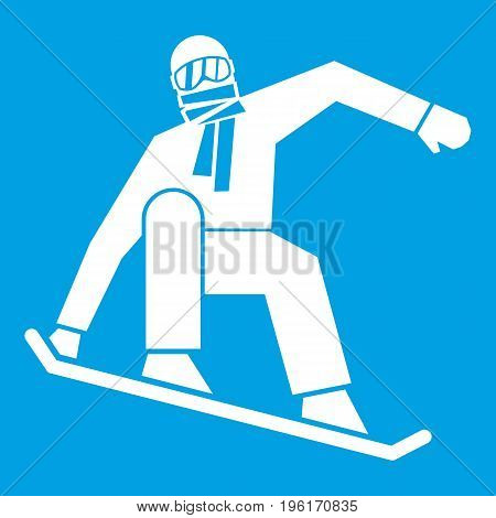 Snowboarder icon white isolated on blue background vector illustration