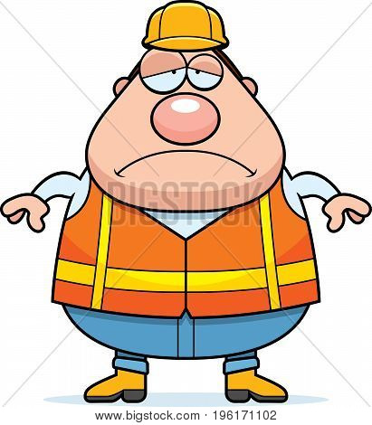 Sad Cartoon Road Worker