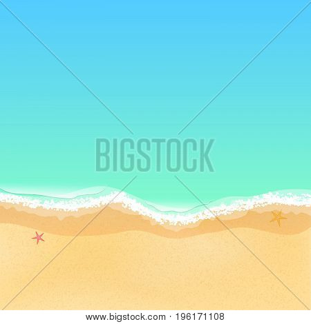 Top view of a cartoon sea beach. Starfish on the sand. Sea tide sea waves. Place for your project. Vector illustration
