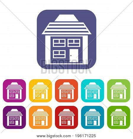 Two-storey house with sloping roof icons set vector illustration in flat style in colors red, blue, green, and other