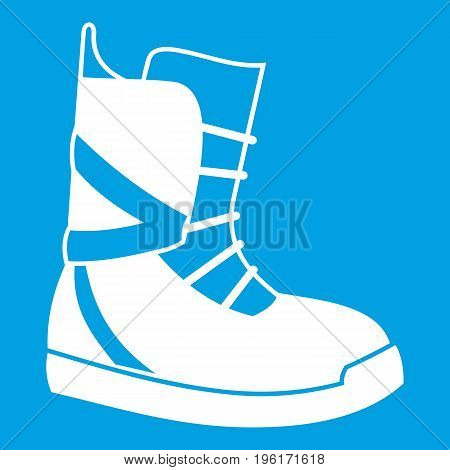 Boot for snowboarding icon white isolated on blue background vector illustration