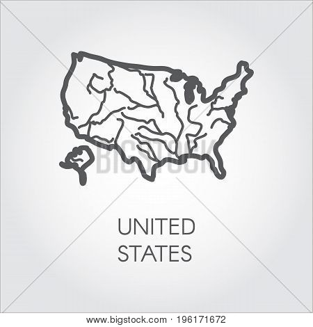 United States of America outline icon. USA border map in linear style. Label of country for cartography, geography, education projects and other design needs. Vector illustration