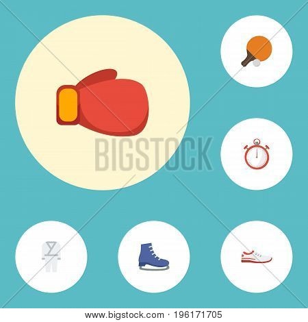 Flat Icons Second Meter, Table Tennis, Shoes And Other Vector Elements