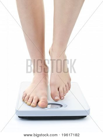 Feet On Bathroom Scale