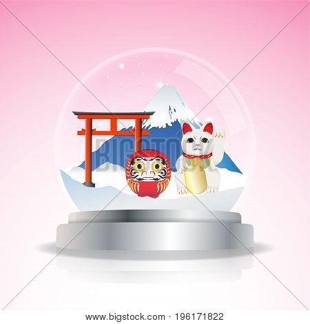 Fuji mountain Daruma Doll and Maneki Neko and Lucky Cat. Attractions of Japan in snow globe. Vector illustration.