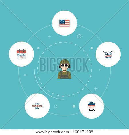 Flat Icons History, Military Man, Barbecue And Other Vector Elements