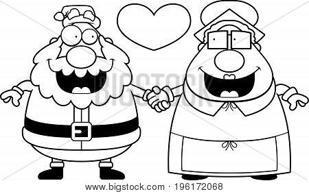 Cartoon Santa And Mrs Claus Love