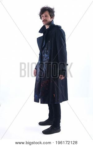 Man with a smeared coat on white background