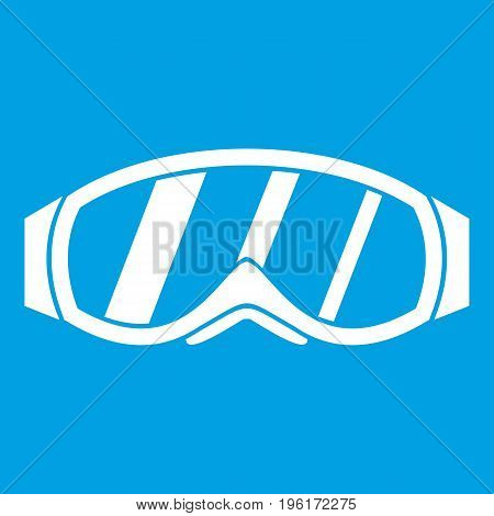 Glasses for snowboarding icon white isolated on blue background vector illustration