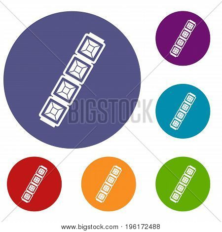 Jewelry chain icons set in flat circle red, blue and green color for web