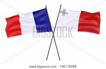 France and Malta, two crossed flags isolated on white background. 3d image
