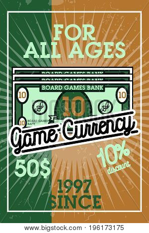Color vintage bord games banner. Gamer icons. Board games players signs. Casino playing card. Design elements. Vector