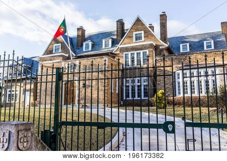 Washington Dc, Usa - February 5, 2017: Portuguese Residence In Kalorama Neighborhood With Gate