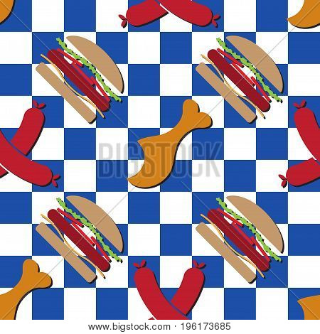 seamless pattern illustration colored hamburgers gnawed chicken legs and sausages with shadows - in front of a blue white chessboard background