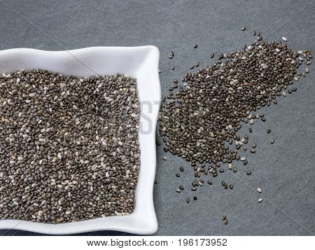 Chia seeds are tiny black seeds from the plant Salvia Hispanica