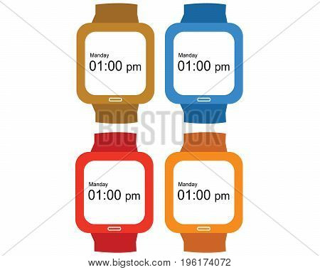 Vector Digital Hand Clock Icon with different color.