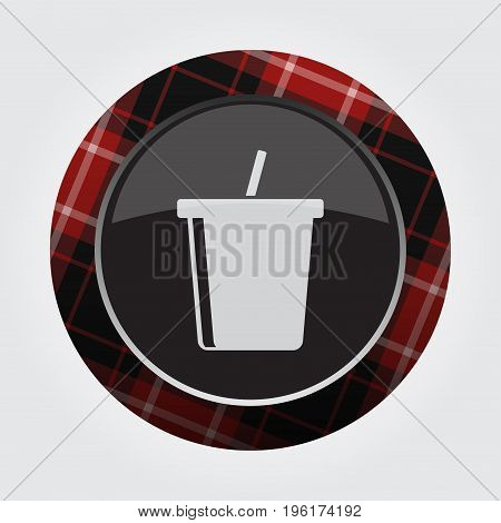 black isolated button with red black and white tartan pattern on the border - light gray cold drink with straw icon in front of a gray background