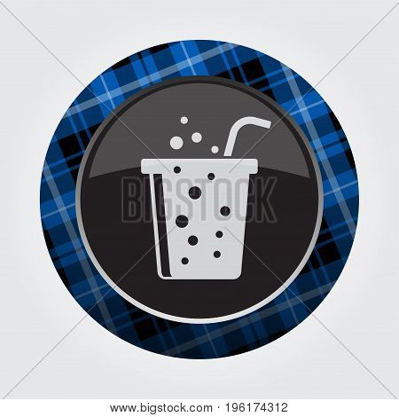 black isolated button with blue black and white tartan pattern on the border - light gray fast food carbonated drink with straw icon in front of a gray background