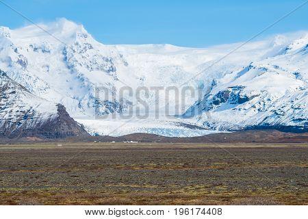 Scenery view of Skaftafell glacier in Vatnajokull national park of southern Iceland.