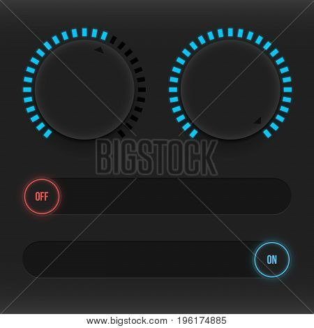 Set of buttons and sliders. Luminous neon control user interface. Sound management. Sliders on and off. Vector illustration